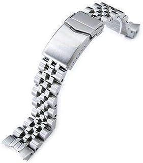 Strapcode Angus Jubilee Cinturino per orologio Seiko Alpinist SARB017, spazzolato, con chiusura a V, in acciaio inossidabi...