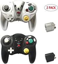 Wireless Gamecube Controller,Reiso 2 Packs 2.4G GC Controller Wireless with Receiver Adapter Compatible Nintendo Gamecube Wii(Black and Silver)