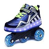 Axcer Luces LED Zapatos de Skate con Ruedas Removable Brillante Calzado de Skateboarding Deportes de Exterior Roller Patín Profesionales Fancy Straight Zapatillas Gimnasia Sneakers para Niñas Niño