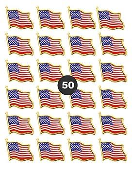 50 PCS American Flag Lapel Pins -50 USA Waving Flag Pins United States US Badge Pins brooch for patriotic display -50 pack