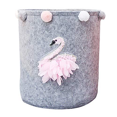 Inwagui Große Filztasche Grau Kinderzimmer Aufbewahrungskorb Faltbare Wäschekorb aus Filz Aufbewahrungstasche für Baby Spielzeug Kleidung - Rosa Schwan