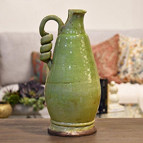 Urban Trends Keramik rund bauchige Tuscan Vase mit gewickelten Griff Krakelee Used-Optik grün, gelb, groß (über 38,1cm)