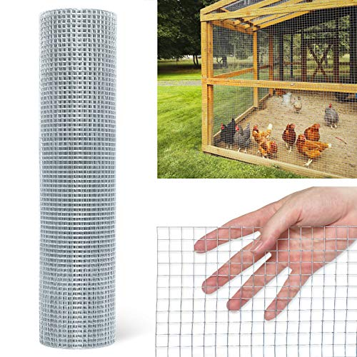 Hardware Cloth 1/2inch Chicken Wire Mesh, 36in x 50ft, 19 Gauge Hot-Dipped Galvanized Material, Fence Wire Mesh for Chicken Coop/Run/Cage/Pen/Vegetables Garden and Home Improvement Projects