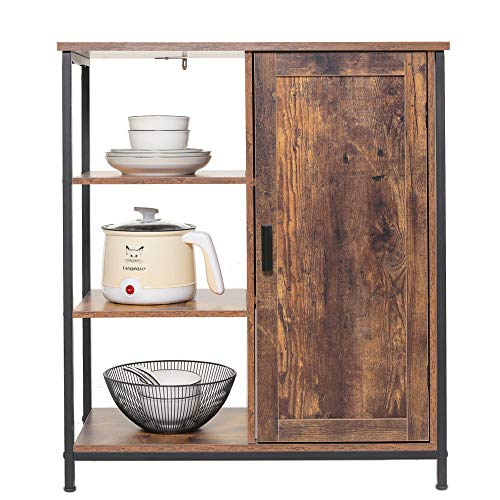 IWELL Floor Storage Cabinet with 3 Open and 2 Adjustable Shelves, Rustic Free Standing Cupboard, Medical Sideboard, Bookshelf, Media Cabinet for Living Room