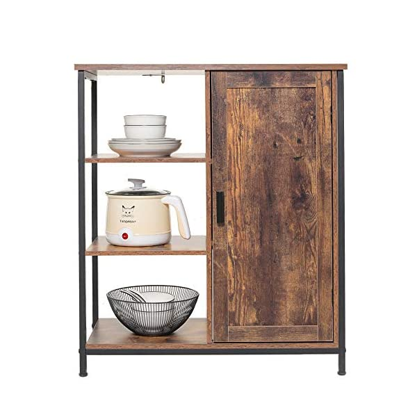 IWELL Floor Storage Cabinet with 3 Open and 2 Adjustable Shelves, Cupboard with Metal Frame, Rustic Free Standing Cabinet, Medical Sideboard, Bookshelf, Media Cabinet for Living Room, Brown SNG010F