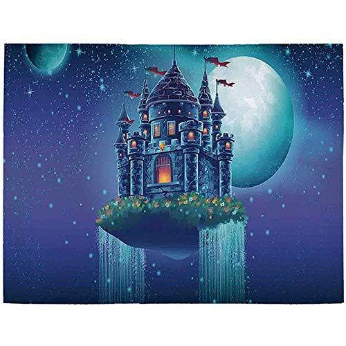 Marlon Kitty Haus Utility Area Rug, Grafik Einer fliegenden mittelalterlichen Burg auf dem Luftraum mit Wasserfall und Mond Bild für Zuhause