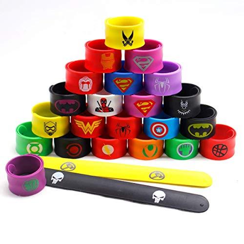 LATERN 24Pcs Bunte Schnapparmbänder für Kinder, Superhelden Slap Bands Silikon Wristband Party Bag Füllstoffe Slap Armbänder Set für Kinder Jungen & Mädchen Birthday Party Favors
