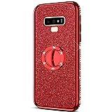 Urhause Coque pour Samsung Galaxy Note 9 Étui avec 360 Degrés Anneau Support de Bague Stand Housse Paillette Strass Brillante Bling Glitter Bumper Couverture Placage Samsung Galaxy Note 9,Rouge