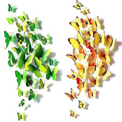 Foonii® 72 Pezzi farfalle 3D adesivi per pareti vari colori decorazione casa stickers murali (12 Pezzi Rosso/Blu/Giallo/Verde/Rosa/Colore)