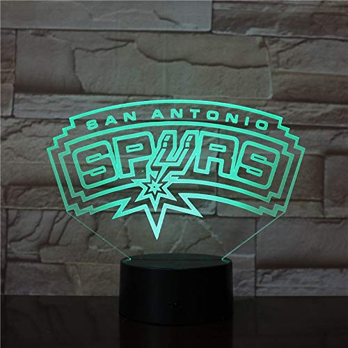Night Lights,3D Lamp Spurs San Antonio Present for Teenager for Living Room Decoration Bright Base Led Night Light Lamp Atmosphere