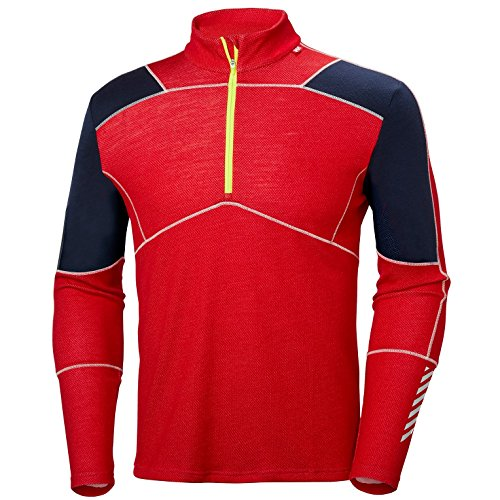 Helly Hansen HH Lifa en laine mérinos 1/2 Zip T-shirt fonctionnel M Rouge drapeau