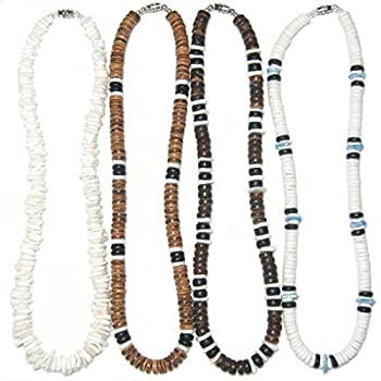 Native Treasure - Set of 4 Necklaces White Rose Clam Puka Chip and Heishe Shells Brown Black Wood Coco Beads Durable Line Authentic Tropical Jewelry Surfer Choker  20