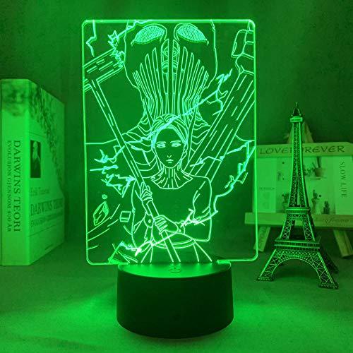 3D noche light3d llevó la luz anime ataque a Titan el martillo de la guerra Titan para la decoración del dormitorio luz regalo de cumpleaños manga ataque a Titan noche lámpara ASQWZX