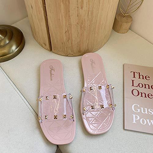 Nwarmsouth Piscina de Gimnasio Zapatillas,Zapatos de Playa Planos Impermeables, Pantuflas de plástico Transparente-Pink_38,Sandalias y Chanclas para Unisex