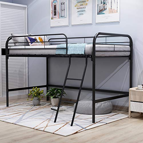 JURMERRY Metal Loft Twin Bed with Sturdy Steel Frame, High Sleeper Multipurpose Use Full-Length...