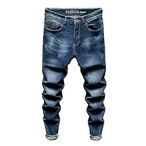 Jeans Pantaloni Jeans Slim Fit Uomo Elasticizzato Blu Jeans Moda Uomo Pantaloni Denim Casual Abbigliamento Uomo Pantaloni Lunghi Maschili 31 Blu