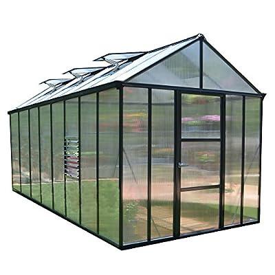 Palram HGK143 Glory Greenhouse w/4 HD Shelves, 8'x16', Gray
