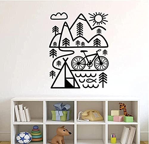 SSCLOCK Bicycle Mountain Bike Wall Decal Outdoor Art Vinyl Wall Sticker Nordic Home Decor 56x43cm