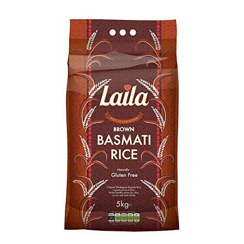 Laila Brown Basmati Rice 5 Kg - 100 % Gluten Free - Brown Basmati Rice with...