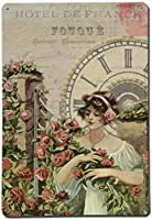 女の子のバラ時計の花ブリキのサインヴィンテージノベルティ面白い鉄の絵の金属板