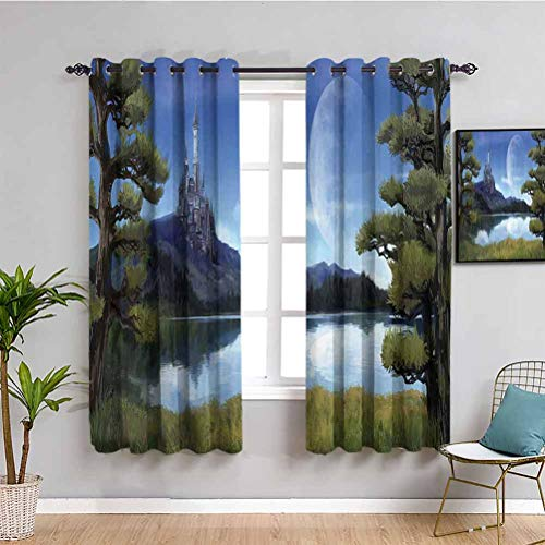 Fantasy Decor Bedroom Decor Blackout Shades Moon Surreal Scene with Riverside Lake Forest and Medieval Castle on Hill Art 2 Panel Sets W63 x L63 Inch Green Blue