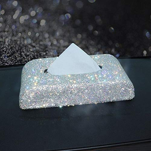 Funda para reposabrazos de coche BlingBling Encantadora atractiva colorida de diamantes de imitación de cristal central cojín de la consola (caja de pañuelos)