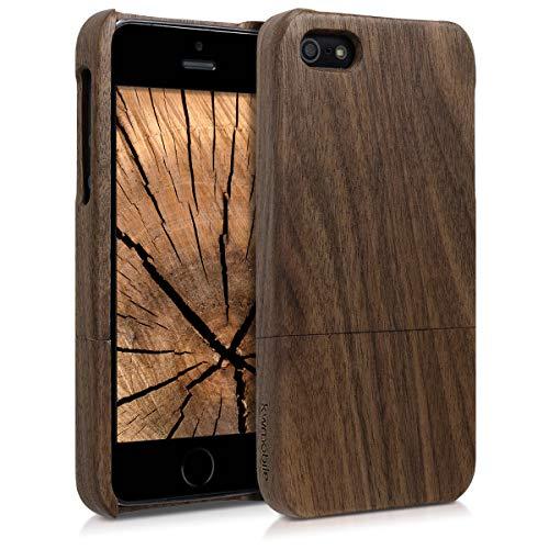 kwmobile Cover Legno Compatibile con Apple iPhone SE (1.Gen 2016) / 5 / 5S - Custodia in Legno Naturale - Hard-Case Rigida Backcover