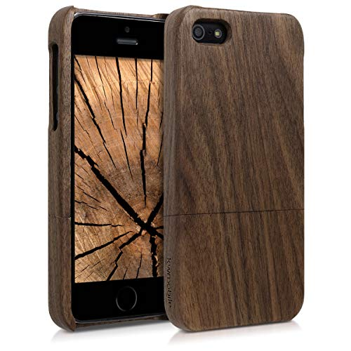 kwmobile Cover Legno Compatibile con Apple iPhone SE (1.Gen 2016) / 5 / 5S - Custodia in Legno Naturale - Hard-Case Rigida Backcover