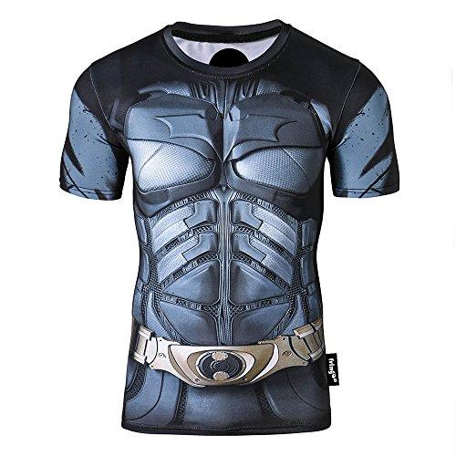 Fringoo - Felpa termica da uomo a compressione da supereroe, strato base per palestra, manica lunga, da corsa Batman 2 - T-shirt M