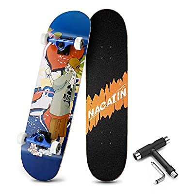 NACATIN Skateboard Komplettboard für Kinder Jungendliche und Erwachsene mit T Tool Werkzeug ABEC-9 Kugellager 92A Anti-Rutsch-Glatt und Mute Rad Funboard für Anfänger