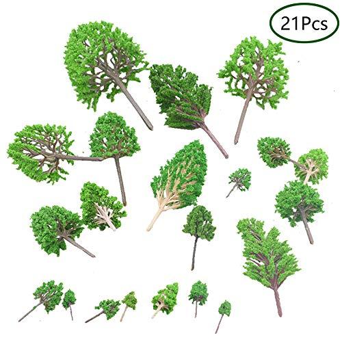 Ritte Modell Bäume, 21 Stücke Mini Miniatur Bäume Gemischtes Bäume Modellbau Bäume Eisenbahn Landschaft Diorama Baum Architektur Bäume für DIY Landschaft, Natürliche Grün