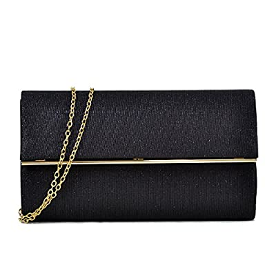 Glitter Clutch Purse Crossbody Evening Bag Party Prom Wedding Handbag w/ Gold Chain Strap Large