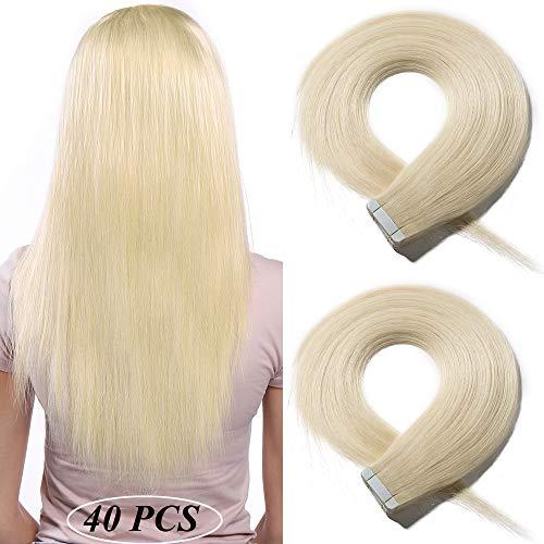 "Bande Adhesive Extension [2.5g * 40 Pièces] Extension Adhesive Naturel Blond - (22""/55CM, 100g) [ 60#Blond Platine ]"