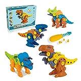 Dinosaur Take Apart Toys, 4pcs DIY Construction Set Assemble Dinosaur Toys, Kids Take Apart Animals Toys, Triceratops Centrosaurus Velociraptor Tyrannosaurus Educational Toys for 3 4 5 6 Years Old