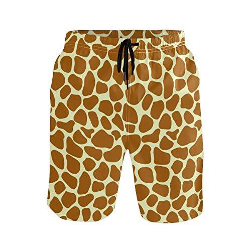 Mens Swim Trunks Animal Giraffe Print Quick Dry Beach Shorts Summer Surf Board Shorts (Size M)
