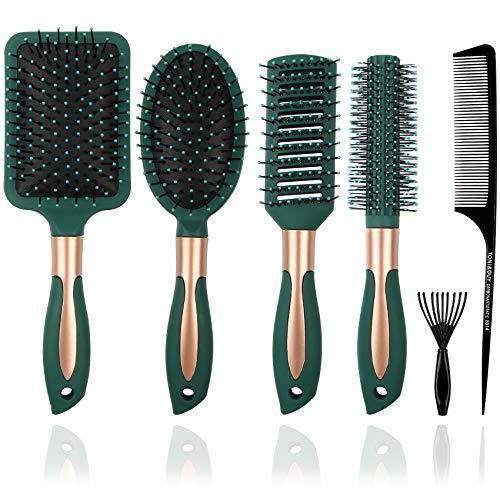 Juego de 5 cepillos de pelo anti enredos para mujeres y hombres, juego de 5 brochas de pelo para cabello húmedo y seco, sin enredos para cabello rizado o recto (verde oscuro)
