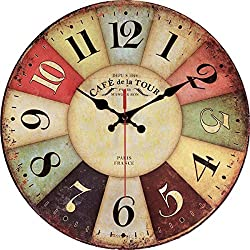 Vintage Rustic Wall Clock 12 Round - Silent Kitchen Wall Clocks Battery Operated Non Ticking Quartz - Colorful Wooden Tuscan Country Farmhouse Style Decorative - Large Arabic Numerals Analog Display