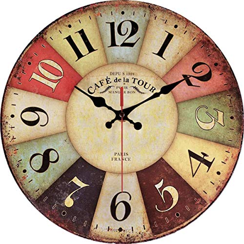 Vintage Rustic Wall Clock 12' Round - Silent Kitchen Wall Clocks Battery Operated Non Ticking Quartz - Colorful Wooden Tuscan Country Farmhouse Style Decorative - Large Arabic Numerals Analog Display