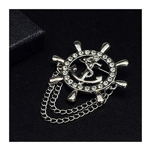 Brosche Kristall Brosche Goldene Schiffsveranker Ruder Broschen Für Herren Anzug Abzeichen Revers Pin für Männer Frauen Kette (Metal Color : J 114)