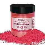 JEMESI 50g pigmentos en polvo de Mica para teñir resina epoxi transparente,colorante jabon, bombas de baño, hacer slime, Maquillaje - Fresa Roja
