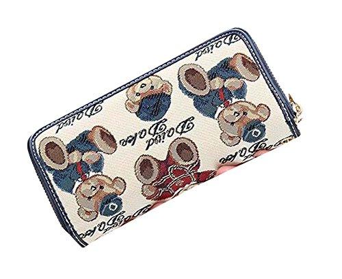 Beige Zipper femmes / Lady Wallet Card Purse Holder