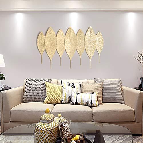 """BCXGS 3D Wandbild Palmenblätter, Wandobjekt Goldene Blätter, Wanddeko Metall 109 x 68cm/43""""x 27"""""""