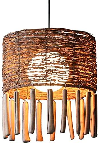 GDEVNSL Hochwertige Rattan Pendelleuchte, kreative Persönlichkeit Kronleuchter Handgefertigte Lampenschirm Wicker DIY Rattan Bar Restaurant Café Lampen, E27,220V Kronleuchter