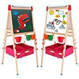 Arkmiido Kids Easel with Paper Roll Double-Sided Whiteboard & Chalkboard Standing Easel with Numbers and Other Accessories for Kids and Toddlers (Pink)