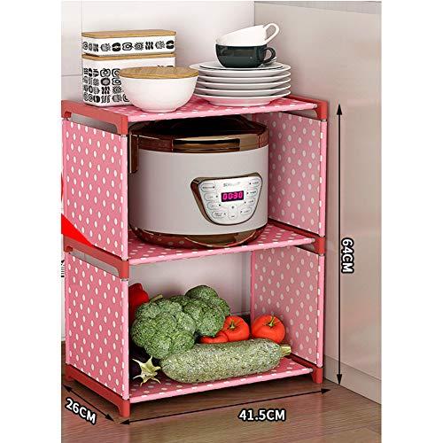 Multifunktions Küche Mikrowelle Regal, Einfache Regal Verdicken Stand Nützlichkeit Lager Spice Kabinett Zähler Regale Metall Rahmen Stoff Regal-a 3-böden