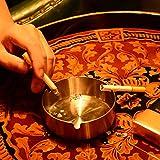 DUOUPA 4 Stücke Edelstahl Aschenbecher 10cm Durchmesser Windschutz Aschenbecher Moderne Tischplatte Aschenbecher Basis für Home Office Innenraum und Draußen - 2