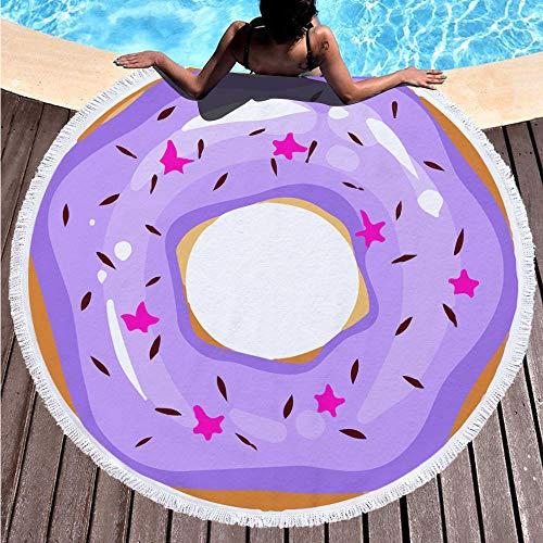 Toalla de Playa Redonda Donut Morado Esterilla de Yoga o para Picnic Manta de Playa Chal de Playa 150 cm de diámetro