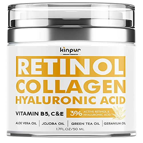 Lifting Retinol Cream for Face - Anti-Aging Support with Collagen - Firming Day and Night Cream that Helps Reduce Wrinkles, Fine Lines, Dry Skin - Hyaluronic Acid Facial Moisturizer - Made in the USA