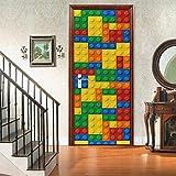 3D Habitaciones De Vinilo Etiqueta De La Puerta Papel Tapiz Estilo Lego etiqueta de puerta para decoración de habitación(77x200 cm)