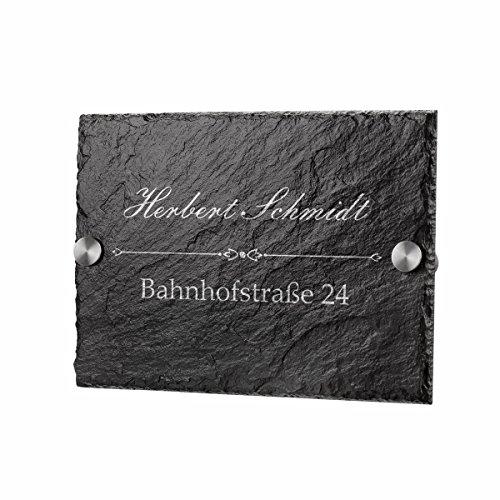 polar-effekt Schiefertafel Türschild Personalisiert mit Gravur - Hausnummerschild Geschenk für Familien zum Einzug - Schieferplatte 20x14cm - Motiv Familienname mit Straße und Hausnummer